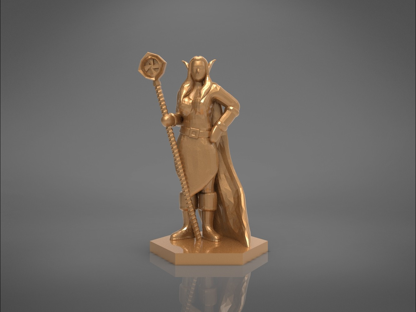 ELF MAGE FEMALE CHARACTER GAME FIGURES 3D print model