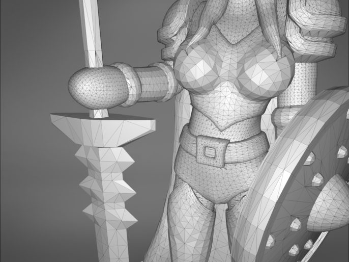 ELF PALADIN FEMALE CHARACTER GAME FIGURES 3D print model
