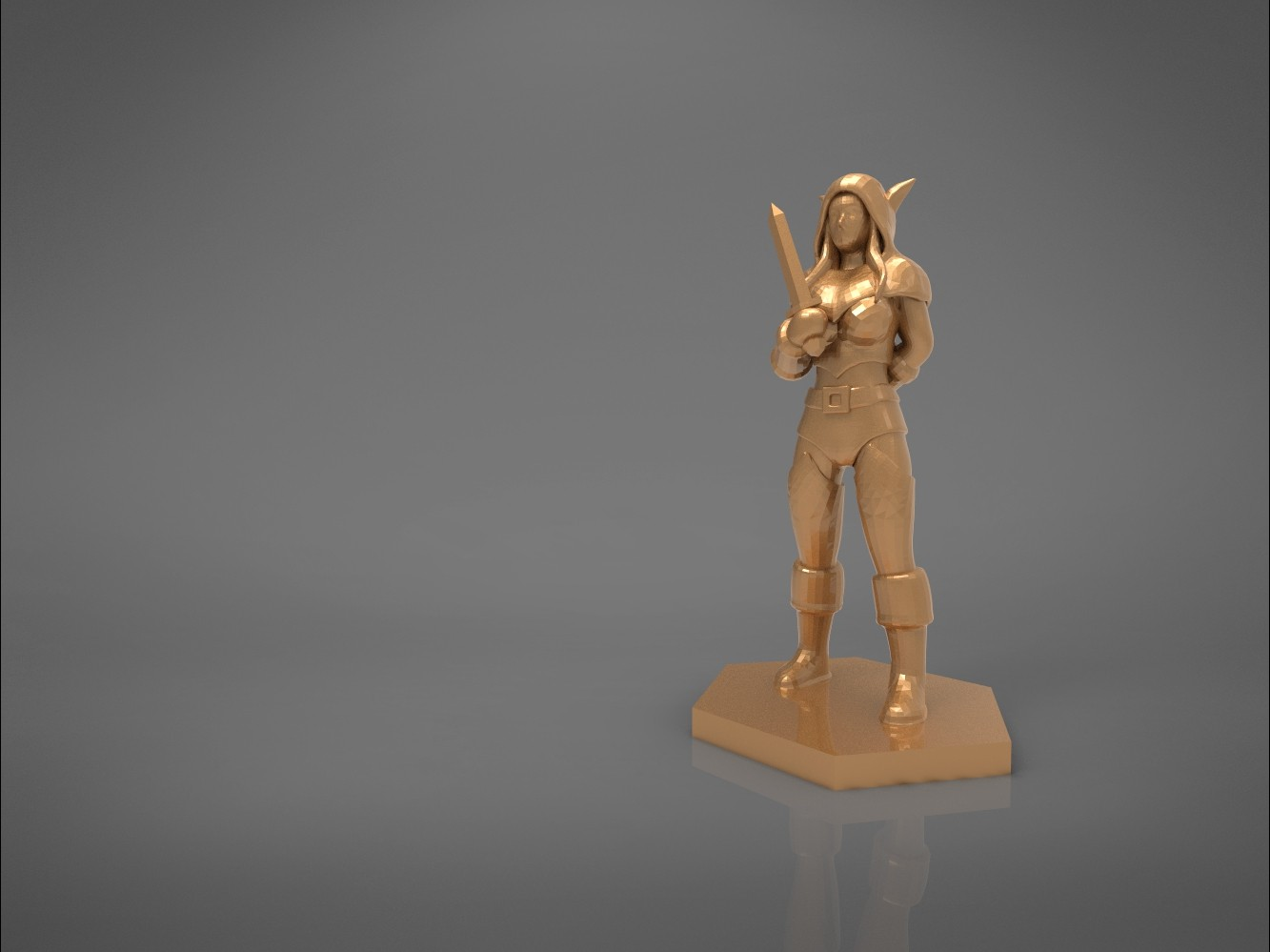 ELF ROGUE FEMALE CHARACTER GAME FIGURES 3D print model