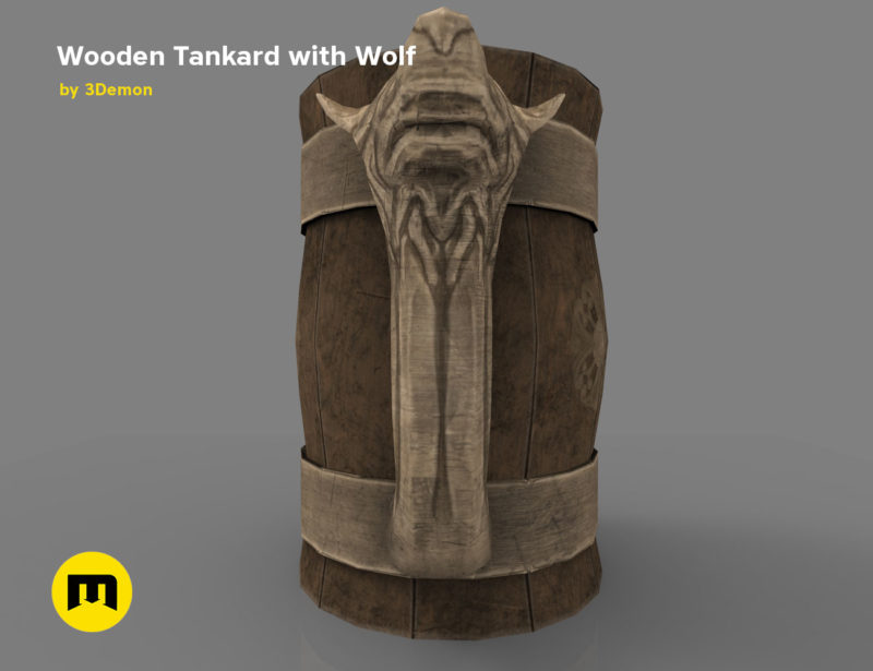 Wooden Historic Tankard with Wolf Low-poly 3D model