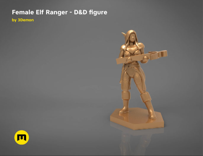 ELF RANGER FEMALE CHARACTER GAME FIGURES 3D print model