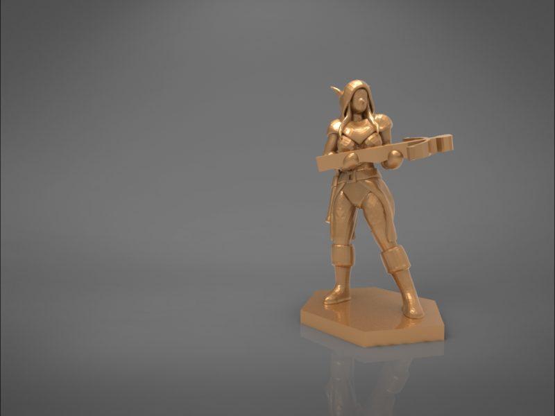 ELF RANGER FEMALE CHARACTER GAME FIGURES 3D print model