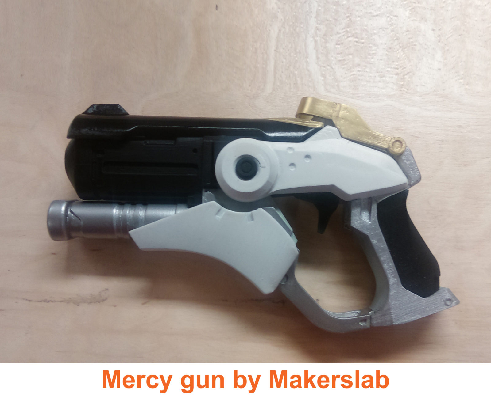 Overwatch Mercy Gun snap assembly with moving parts 3D print model