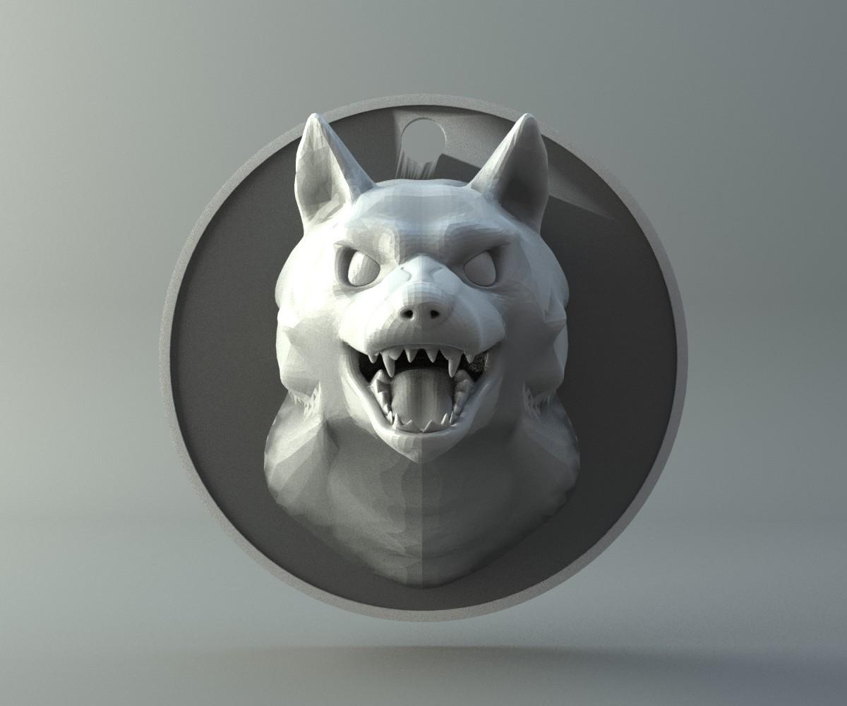 Wolf head amulet Free 3D print model
