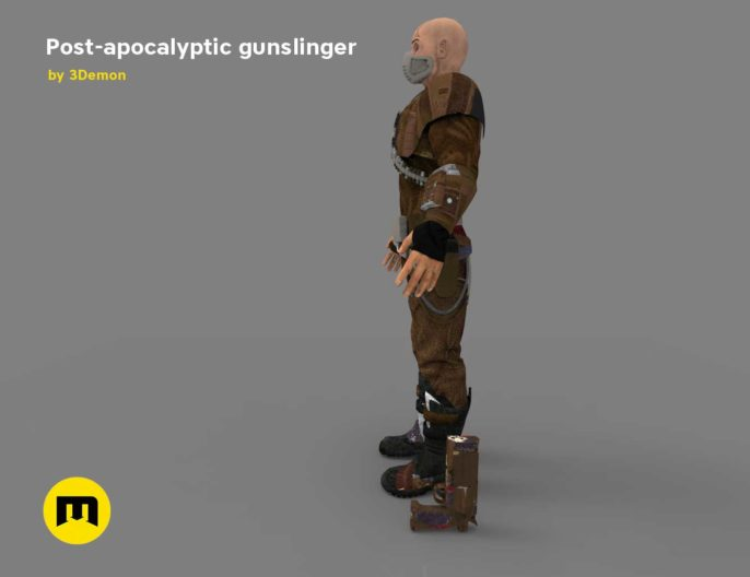 The Gunslinger - post-apocalyptic Warrior Low-poly 3D model