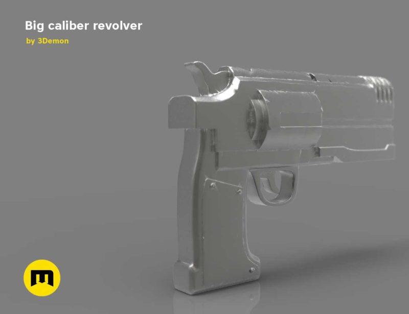Big caliber revolver Low-poly 3D model