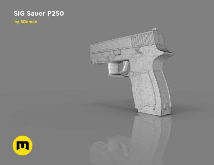 SIG Sauer P250 pistol Low-poly 3D model