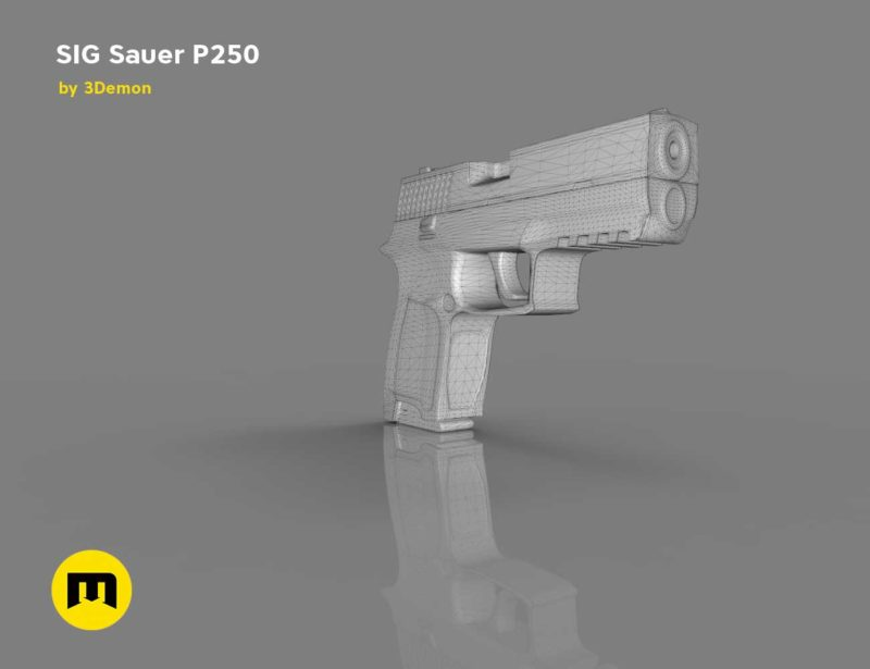 SIG Sauer P250 pistol Low-poly 3D model