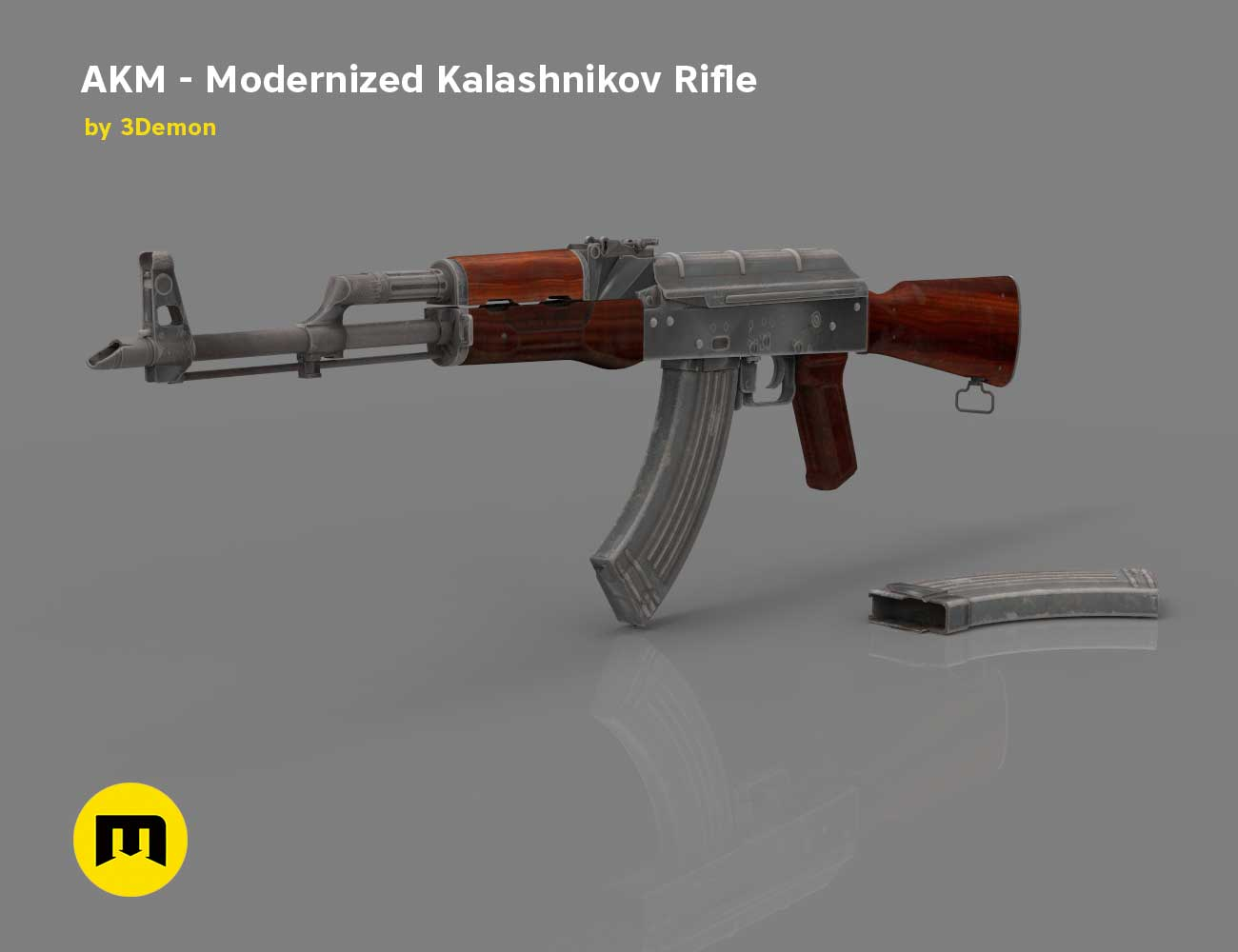 AKM - Modernized Kalashnikov Automatic Rifle Low-poly